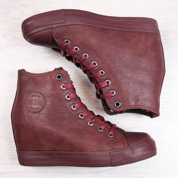 Sneakersy na koturnie z eko skóry ocieplane bordowe Big Star BB274303