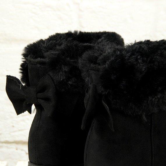 Botki śniegowce na koturnie czarne Vices