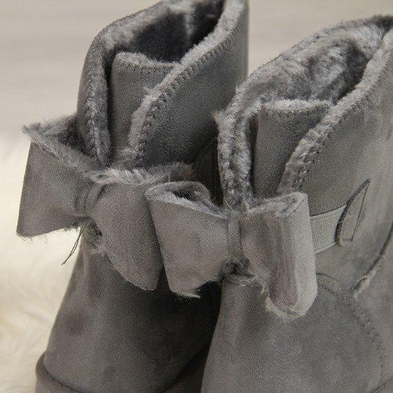 Śniegowce damskie mukluki z kokardką szare