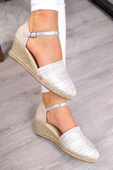 Srebrne sandały espadryle pełne Wishot
