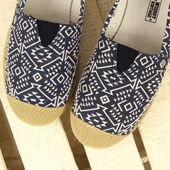 Granatowe tenisówki espadryle aztecki wzór Wishot