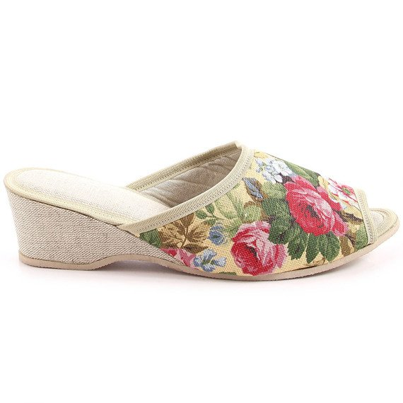 Laczki damskie domowe w kwiaty Eliza