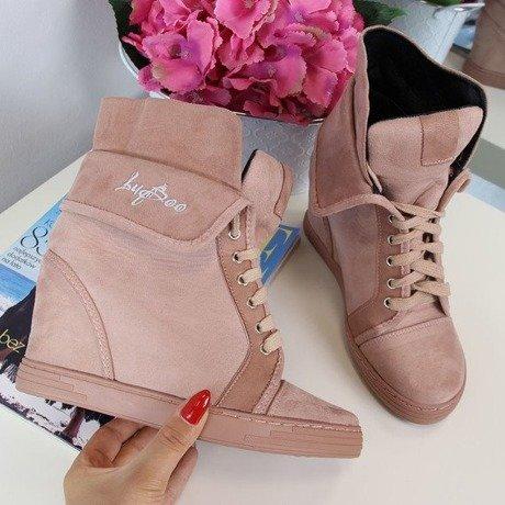 Pudrowy róż sneakersy wywijane na koturnie Lu Boo