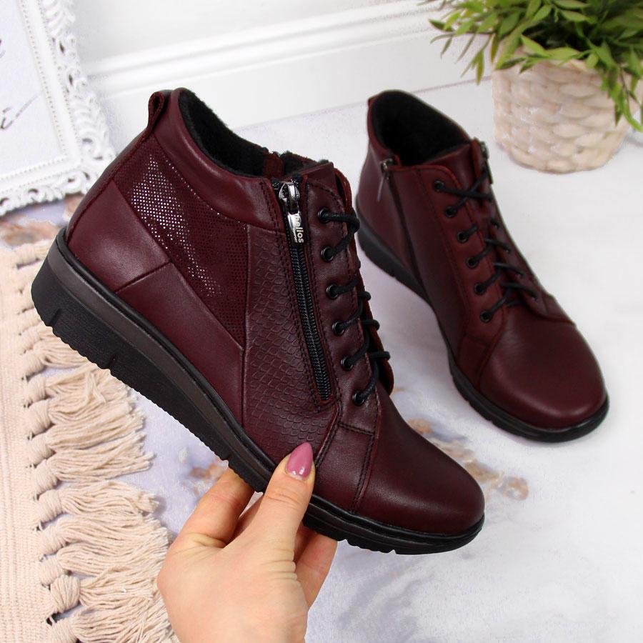 bordowe buty damskie na koturnie