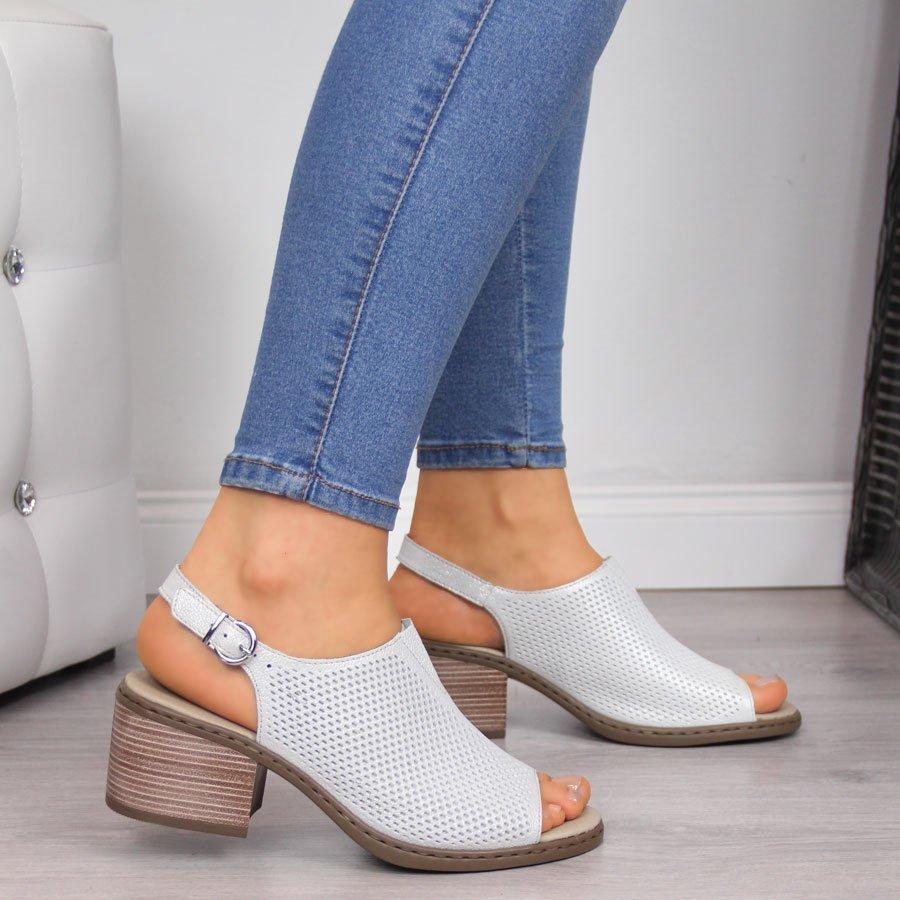 Sandały damskie skórzane płaskie Rieker 37