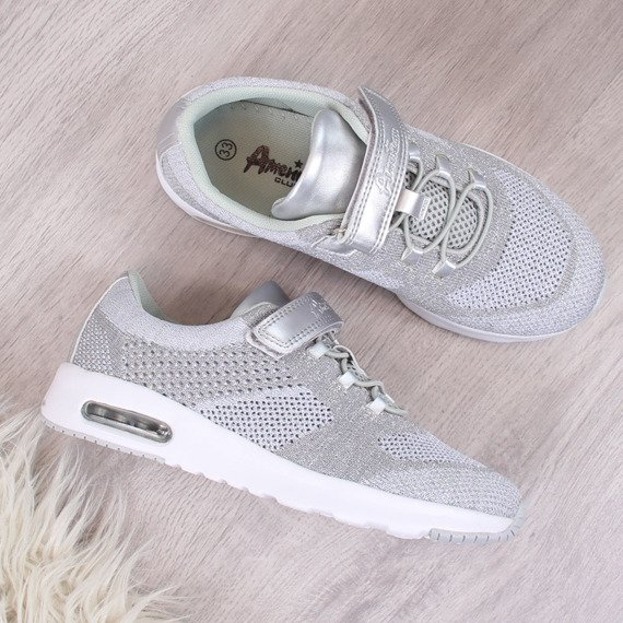 Buty sportowe dziewczęce na rzep srebrne American Club