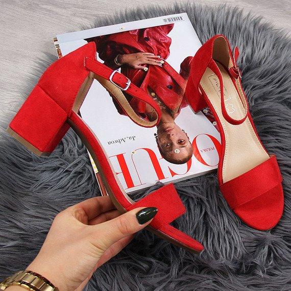 Sandały damskie na klocku czerwone Filippo