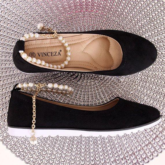 Baleriny damskie z perełkami czarne Vinceza