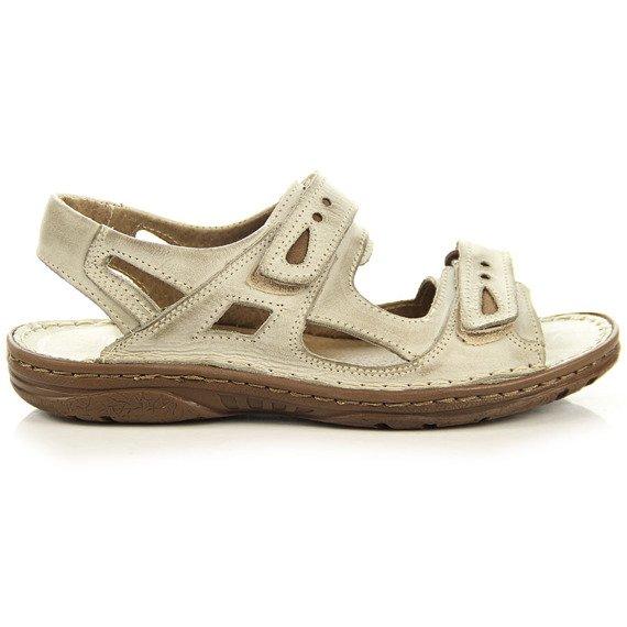 Beżowe skórzane sandały męskie lekkie komfortowe Rafado 017