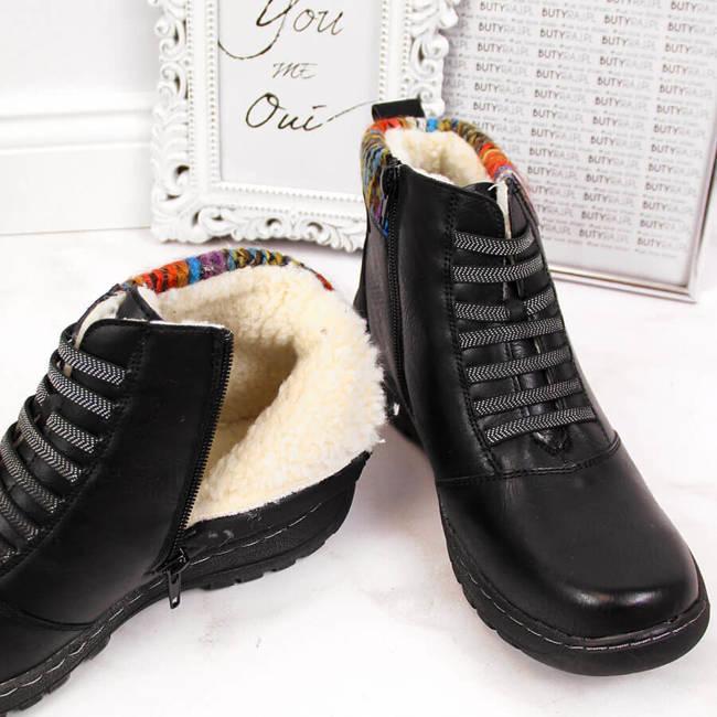 Botki damskie komfortowe zimowe czarne Sabatina