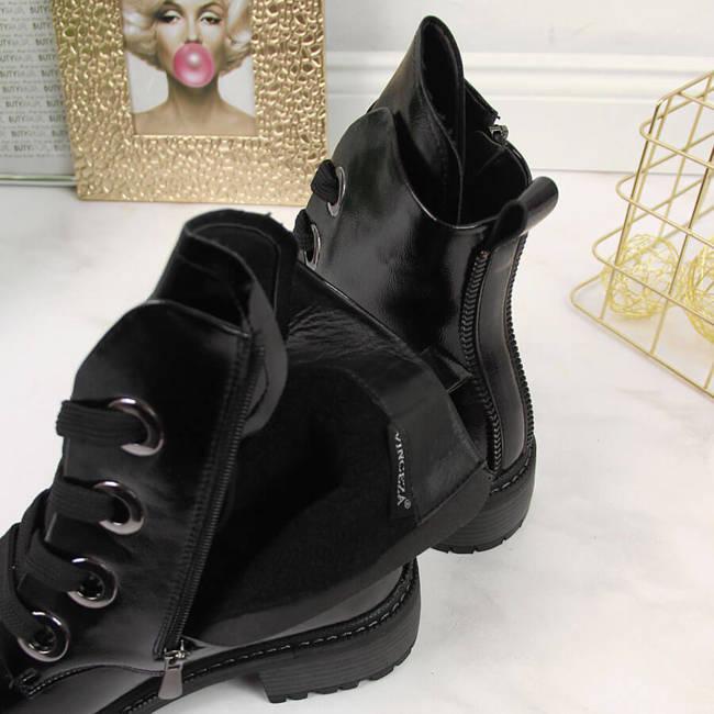 Botki damskie lakierowane czarne Vinceza