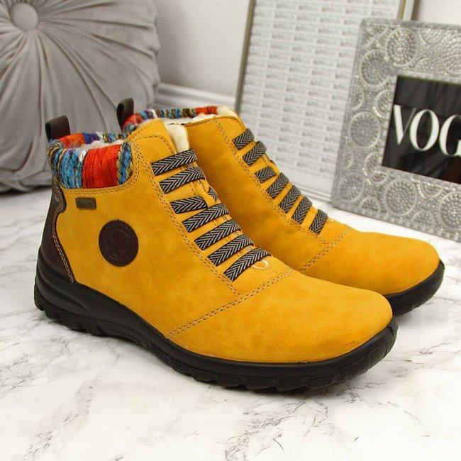 Botki damskie ocieplane żółte Rieker L7174