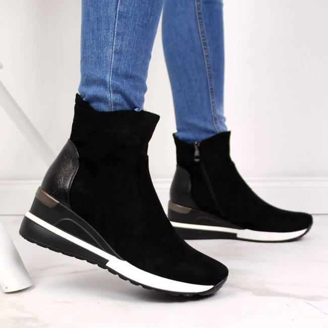Botki damskie sneakersy na koturnie czarne Vinceza