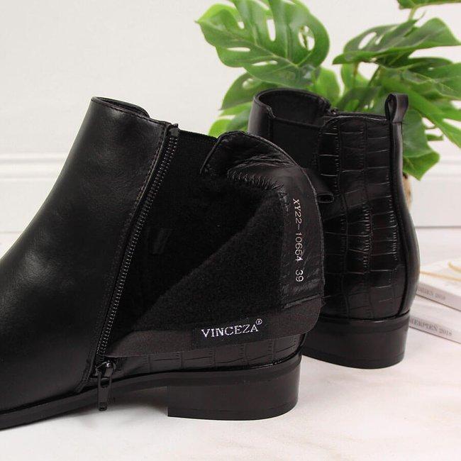 Botki damskie sztyblety czarne Vinceza
