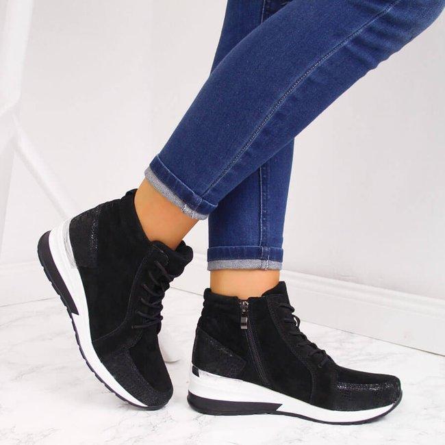 Botki skórzane sneakersy na koturnie czarne Filippo