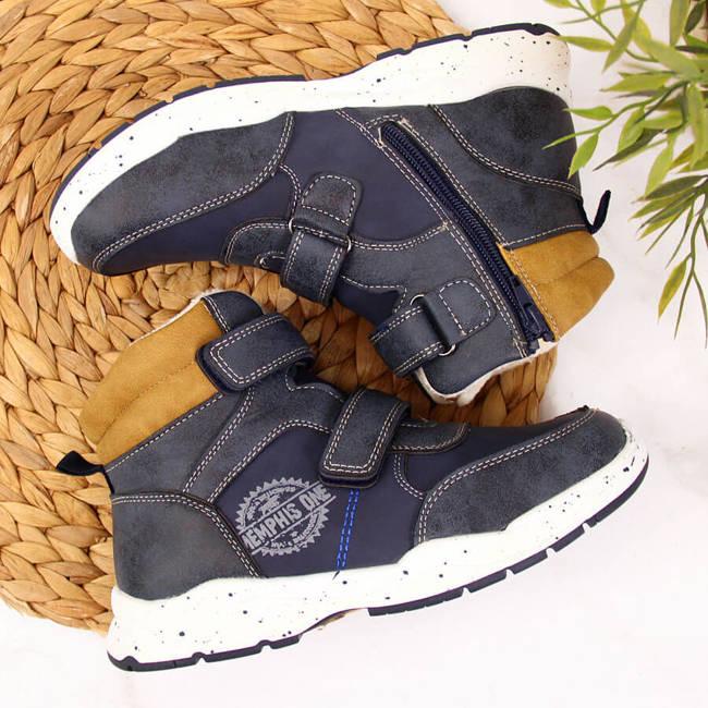 Buty chłopięce zimowe na rzepy granatowe American Club