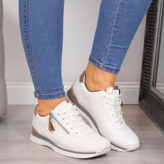 Buty sportowe damskie z perłami białe Xti
