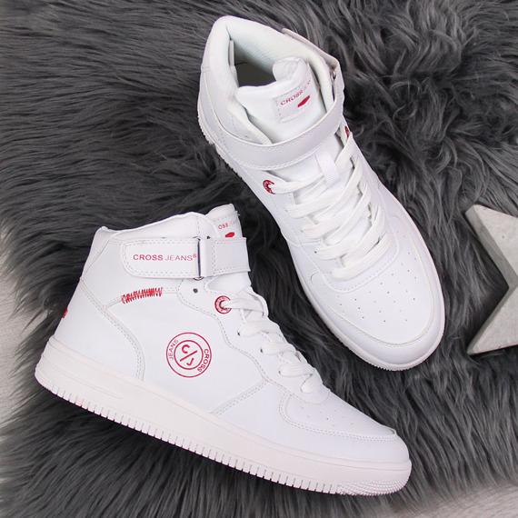 Buty sportowe na rzep białe Cross Jeans