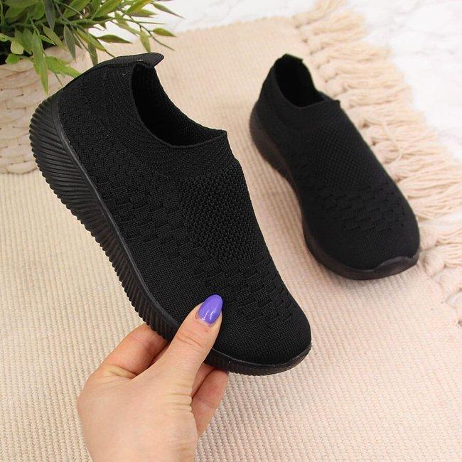 Buty sportowe tekstylne dziecięce slip on czarne NEWS