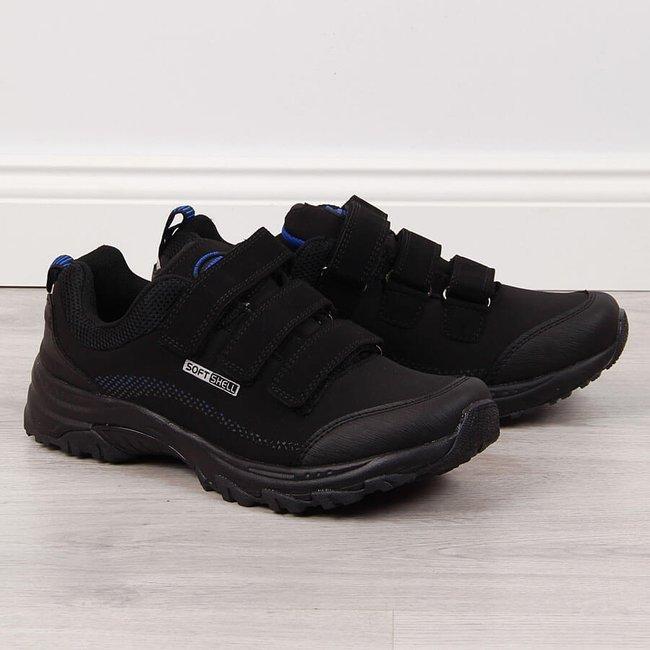 Buty trekkingowe na rzepy wodoodporne czarne American Club