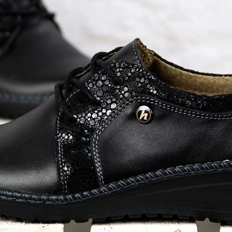 Czarne półbuty damskie skórzane komfortowe Helios 318