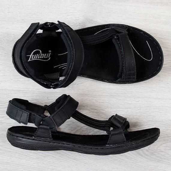 Czarne sandały męskie skórzane Łukbut 990