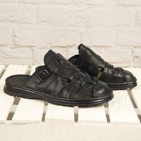 Czarne skórzane klapki męskie lekkie komfortowe Łukbut 962