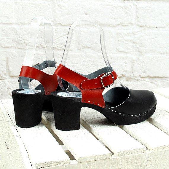 Czarno czerwone sandały chodaki drewniaki skórzane Marcus