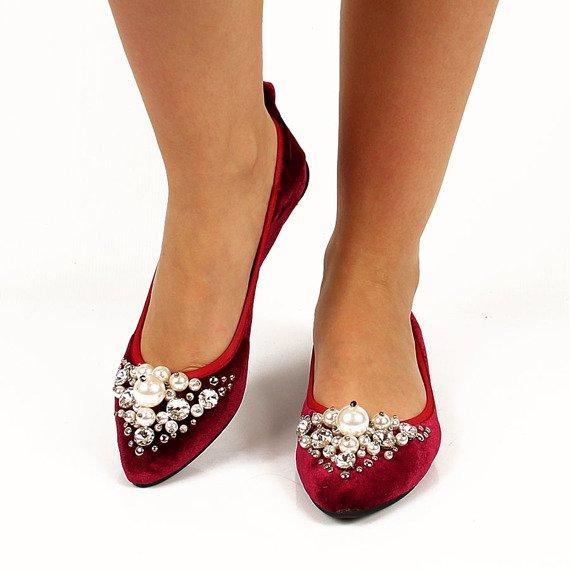 Czerwone balerinki welurowe z perłami Lu Boo B12-14