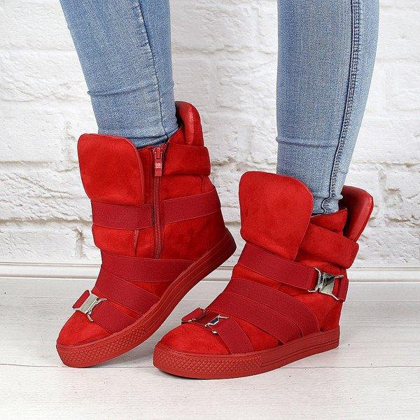 Czerwone sneakersy damskie na koturnie gumy Lu Boo