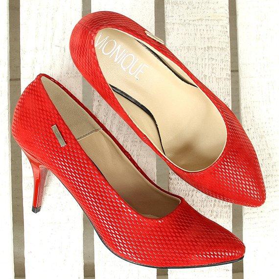 Czółenka lakierowane na szpilce czerwone Monique