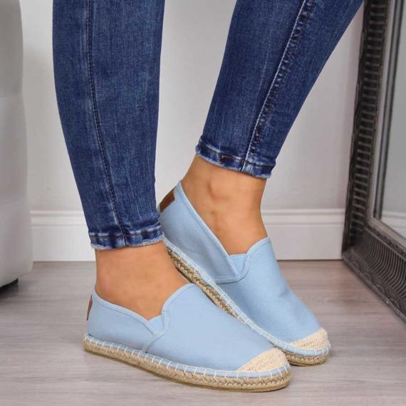 Espadryle damskie wsuwane niebieskie Cross Jeans
