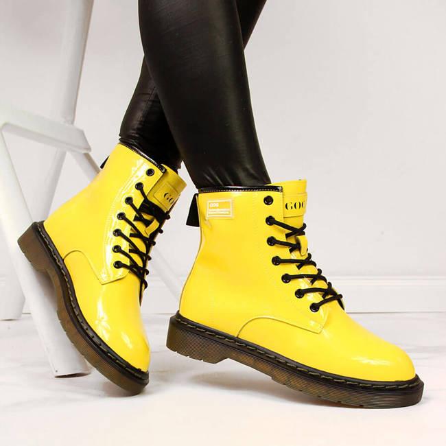 Glany skórzane damskie lakierowane żółte Goe II2N4054
