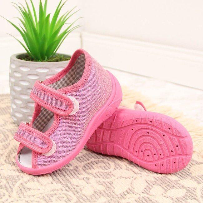 Kapcie dziewczęce sandałki domowe połyskujące różowe Nazo