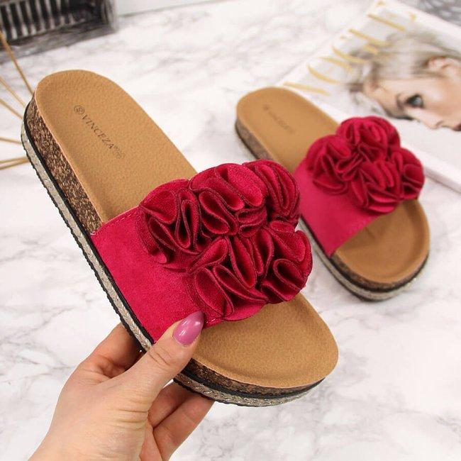 Klapki damskie na platformie z kwiatami różowe Vinceza