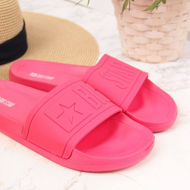 Klapki damskie plażowe różowe Big Star HH274A039