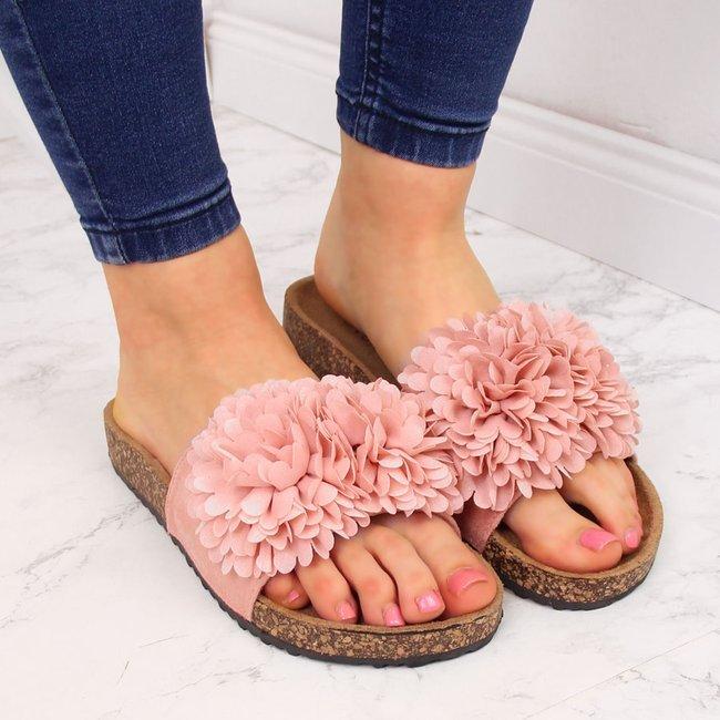 Klapki damskie z kwiatem różowe eVento