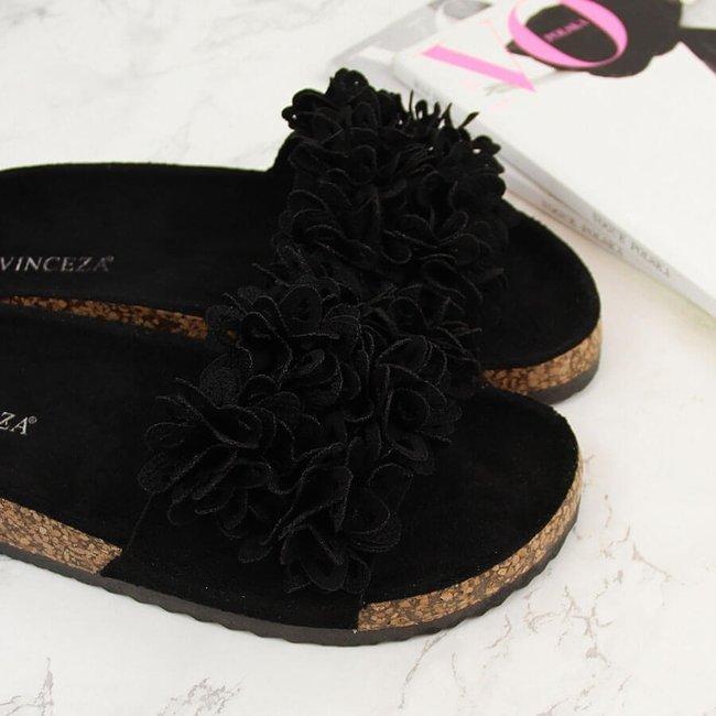 Klapki damskie z kwiatkami czarne Vinceza