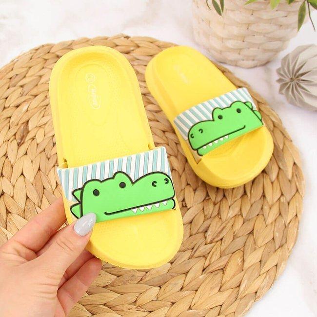 Klapki dziecięce piankowe z aligatorem żółte Befado