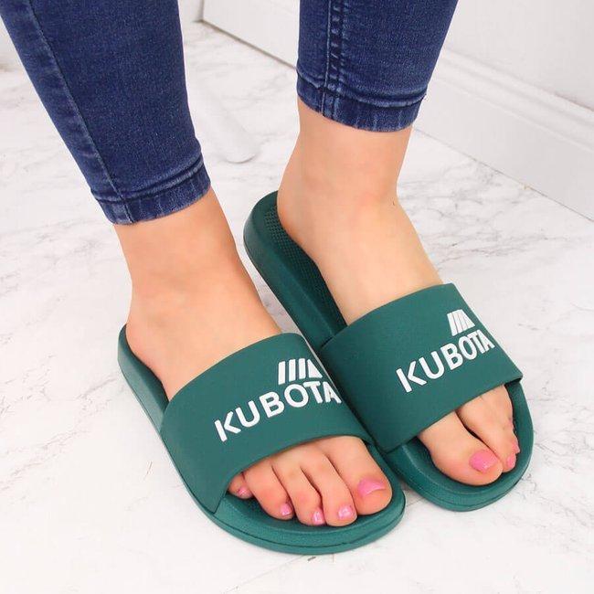 Klapki plażowe basenowe basic zielone Kubota
