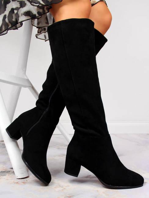 Kozaki damskie na słupku ocieplane czarne Sergio Leone