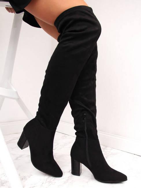 Kozaki za kolano zamszowe czarne Vinceza