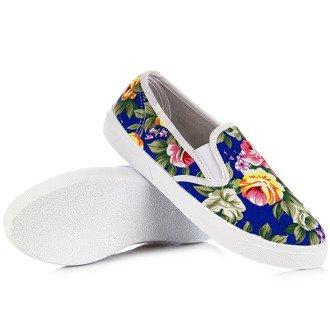 Niebieskie tenisówki slip on z motywem kwiatów Wishot