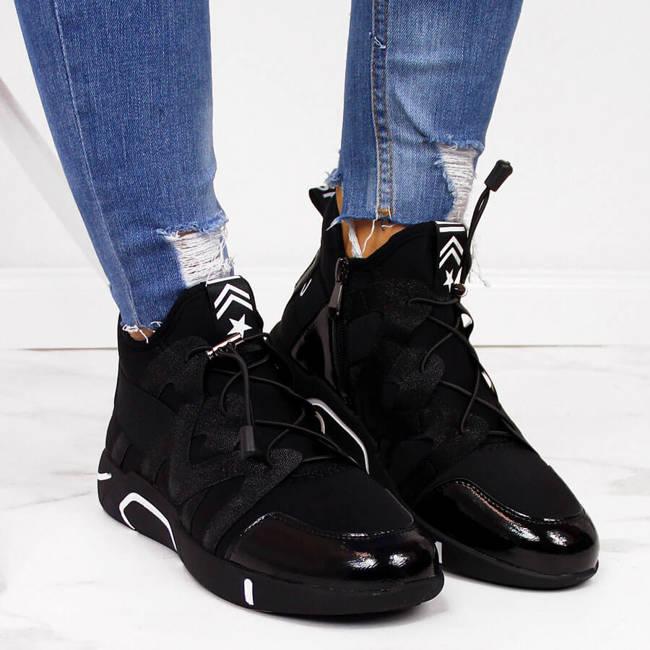 Półbuty za kostkę sneakersy damskie czarne Vinceza