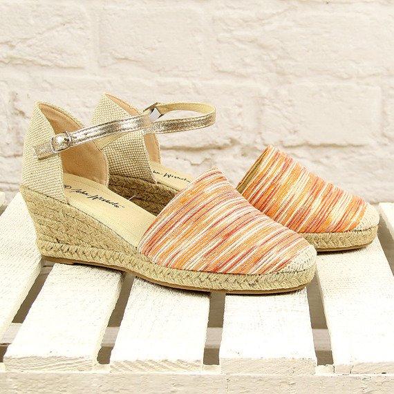 Pomarańczowe sandały espadryle pełne Wishot