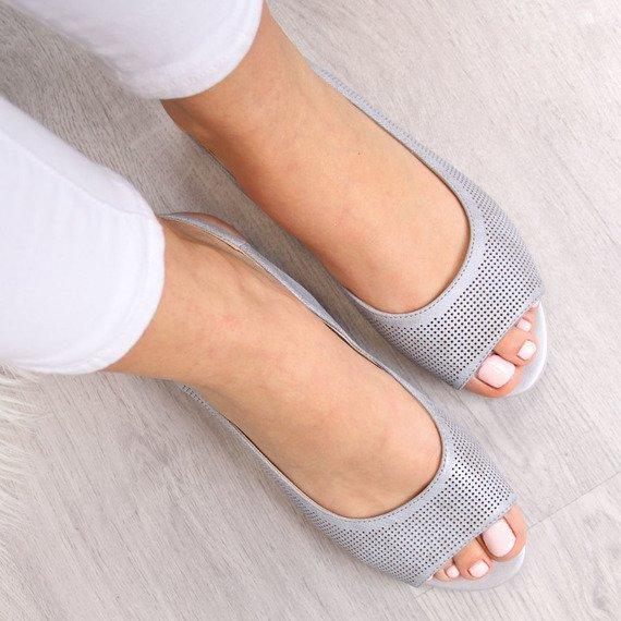 Sandały ażurowe szare połyskujące Sergio Leone