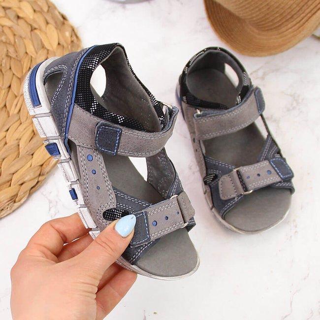 Sandały chłopięce na rzep szare Kornecki 6186