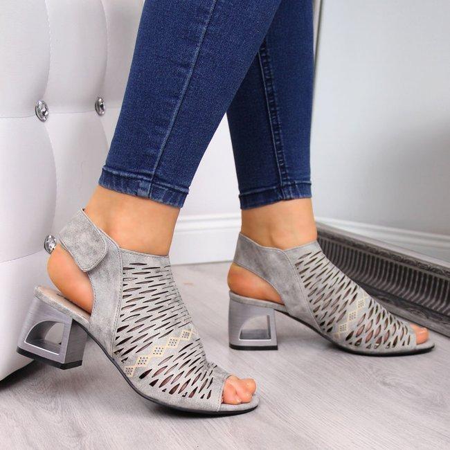 Sandały damskie ażurowe na rzep szare Jezzi