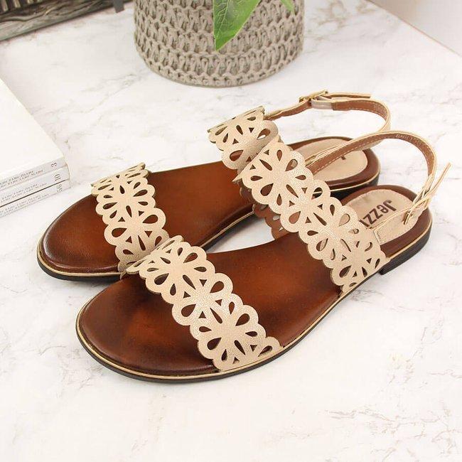 Sandały damskie ażurowe złote Jezzi