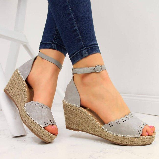 Sandały damskie espadryle na koturnie szare eVento